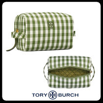 Tory Burch(トリーバーチ) メイクポーチ 【Tory Burch】PIPER GINGHAM LARGE COSMETIC CASE☆化粧ポーチ