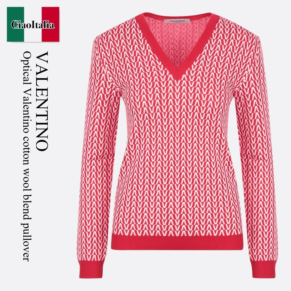 Optical Valentino cotton wool blend pullover (VALENTINO/ニット・セーター) OPTICAL VALENTINO COTTON WOOL BLEND PULL  WB3KC24G6HQ  WB3KC24G6HQ RA0