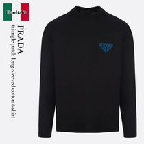 Prada triangle patch long-sleeved cotton t-shirt
