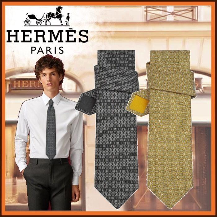 HERMES「Doubl'H」ネクタイ シルク グレー イエロー  (HERMES/ネクタイ) H606162T 04   H606162T 06