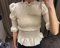 """""""& Other Stories""""新作☆Fitted Smocked Ruffle Top(white)"""