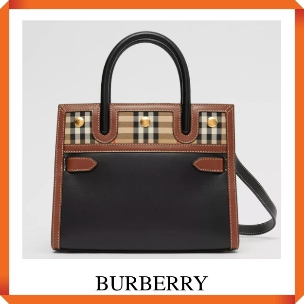 BURBERRY Mini Leather and Vintage Check Two-handle Title Bag (Burberry/ショルダーバッグ・ポシェット) 80252661