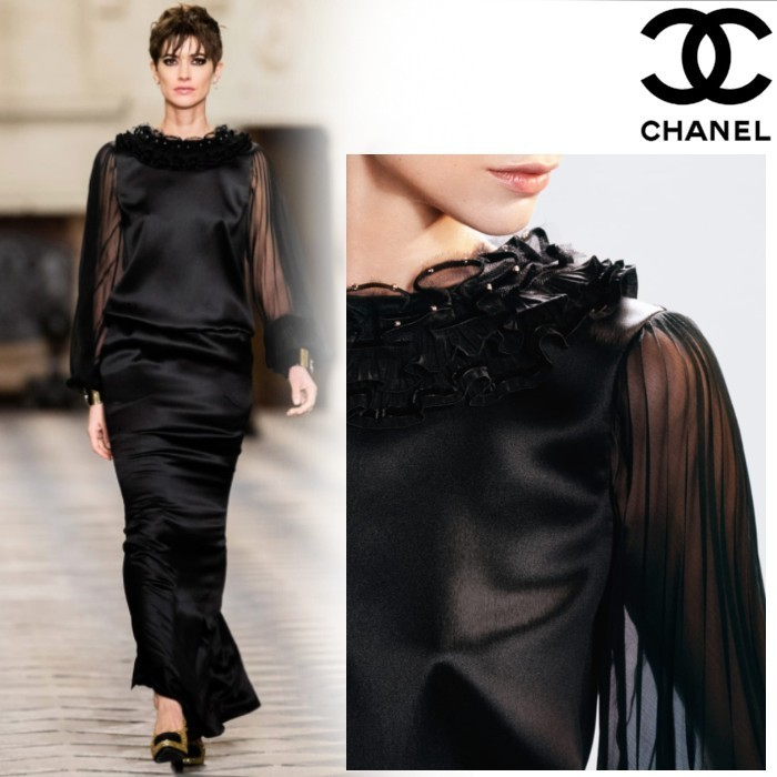 20-21Metiers d'Art CHANEL ブラウス シルク サテン ブラック (CHANEL/ブラウス・シャツ) P71065 V62353 94305