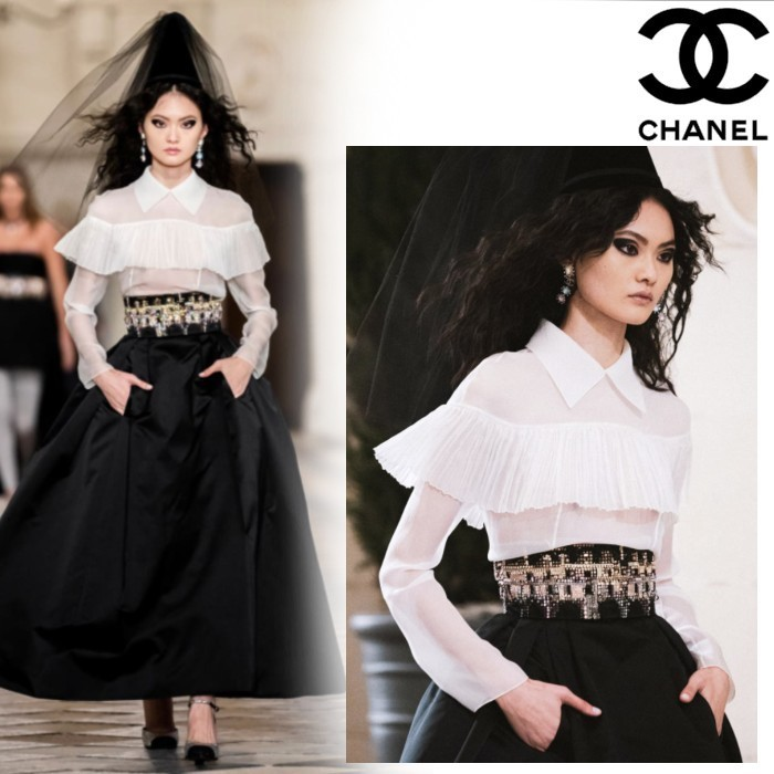 20-21Metiers d'Art CHANEL ブラウス シルク モスリン ホワイト (CHANEL/ブラウス・シャツ) P71100 V40206 AI852