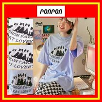 [RONRON] OVER FIT CATS T-SHIRT/3色/兼用/追跡付