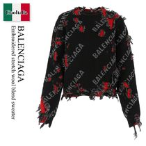 Balenciaga Embroidered stretch wool blend sweater