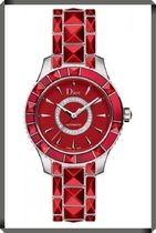 【DIOR】Christal 38mm Red Diamond Dial Stainless Steel
