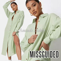 ★MISSGUIDED-フロントボタンロングシャツワンピース-Lime★