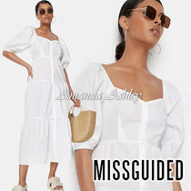 ★MISSGUIDED-パフスリーブティアードワンピース-White★