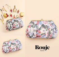Rouje(ルージュ) メイクポーチ ★パリ発Rouje★Le Rouje ポーチ 化粧品&小物入れ 花柄 (大) 白
