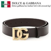 Dolce gabbana lux leather belt with crossed dg logo