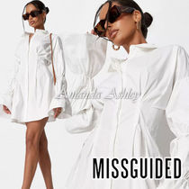 ★MISSGUIDED-バブルスリーブシャツワンピース-White★