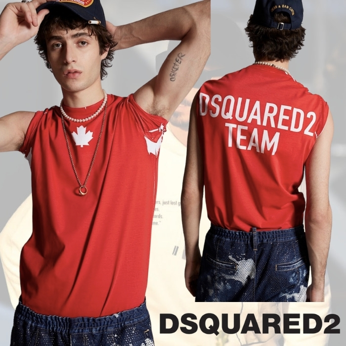 【2021AW】Dsquared2 Tシャツ ロゴ コットン リーフ 品格 レッド (D SQUARED2/Tシャツ・カットソー) 71350181