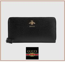 GUCCI ☆Animalier leather zip around wallet ☆ビー☆レザー☆