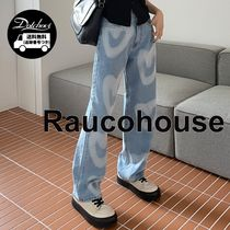 Raucohouse heart washed denim Pants YJ2053