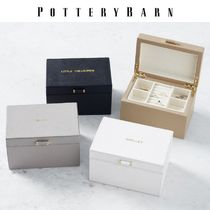 PotteryBarn Quinn Small Leather Jewelry Box, Foil Debossed