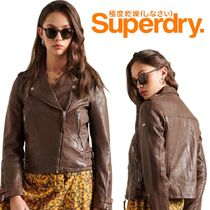 Superdry(極度乾燥しなさい)(Superdry(極度乾燥しなさい)) レザージャケット・コート 完売必至♦Superdry Classic Leather Biker Jacket