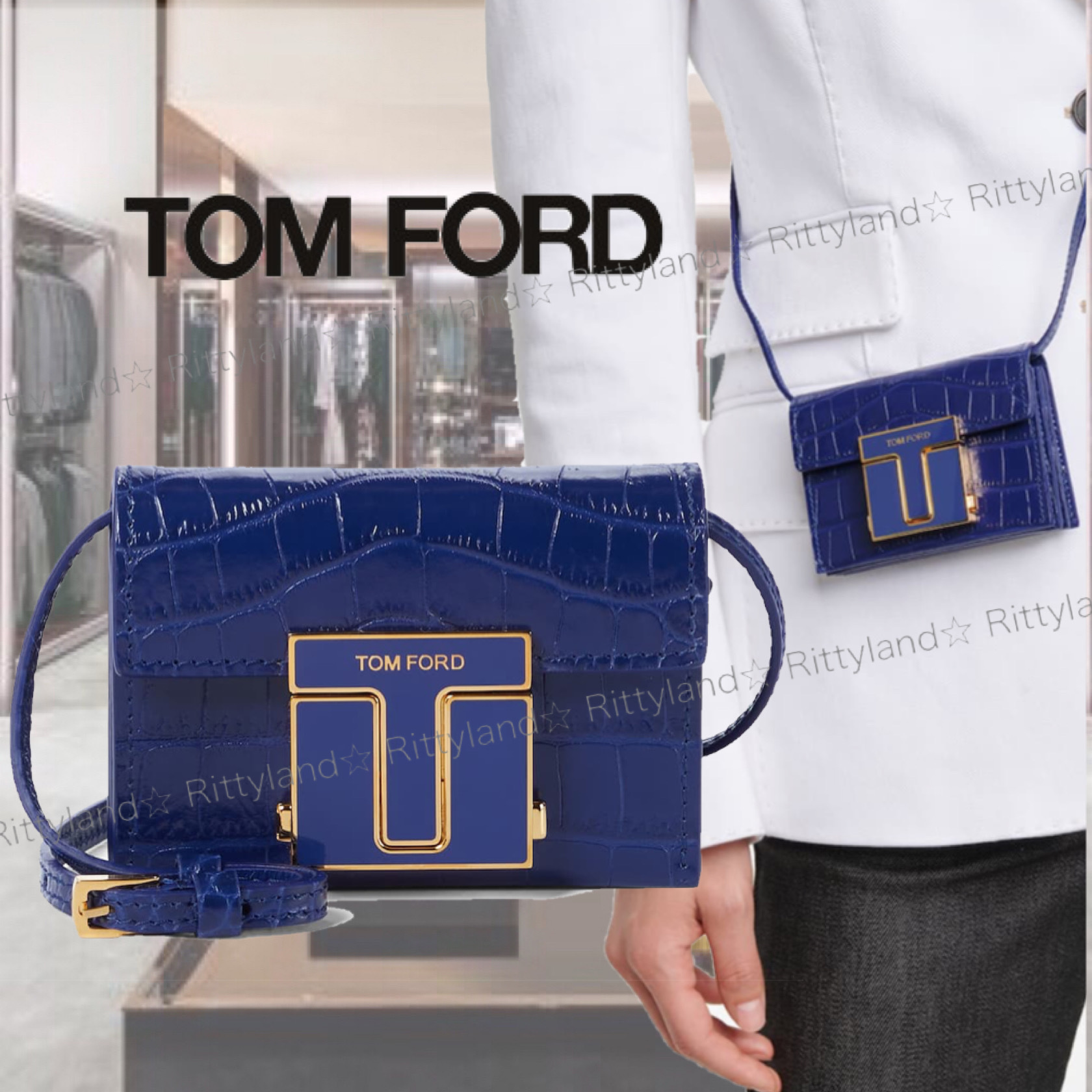 「SALE★21SS」★Tom Ford★クロコレザー クラッチ (TOM FORD/クラッチバッグ) 71433680