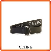 CELINE MEDIUM DOUBLE RING BELT IN TEXTILE AND CALFSKIN