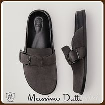 MassimoDutti♪LEATHER CLOGS WITH BUCKLE DETAIL