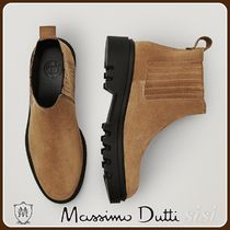 MassimoDutti♪TAN LEATHER ANKLE BOOTS WITH ELASTIC DETAIL