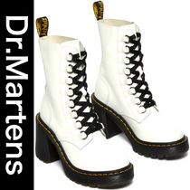 WHITE CHESNEY LEATHER FLARED HEEL LACE UP BOOTS ★Dr.Martens