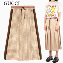 GUCCI Pleated midi skirt with GG