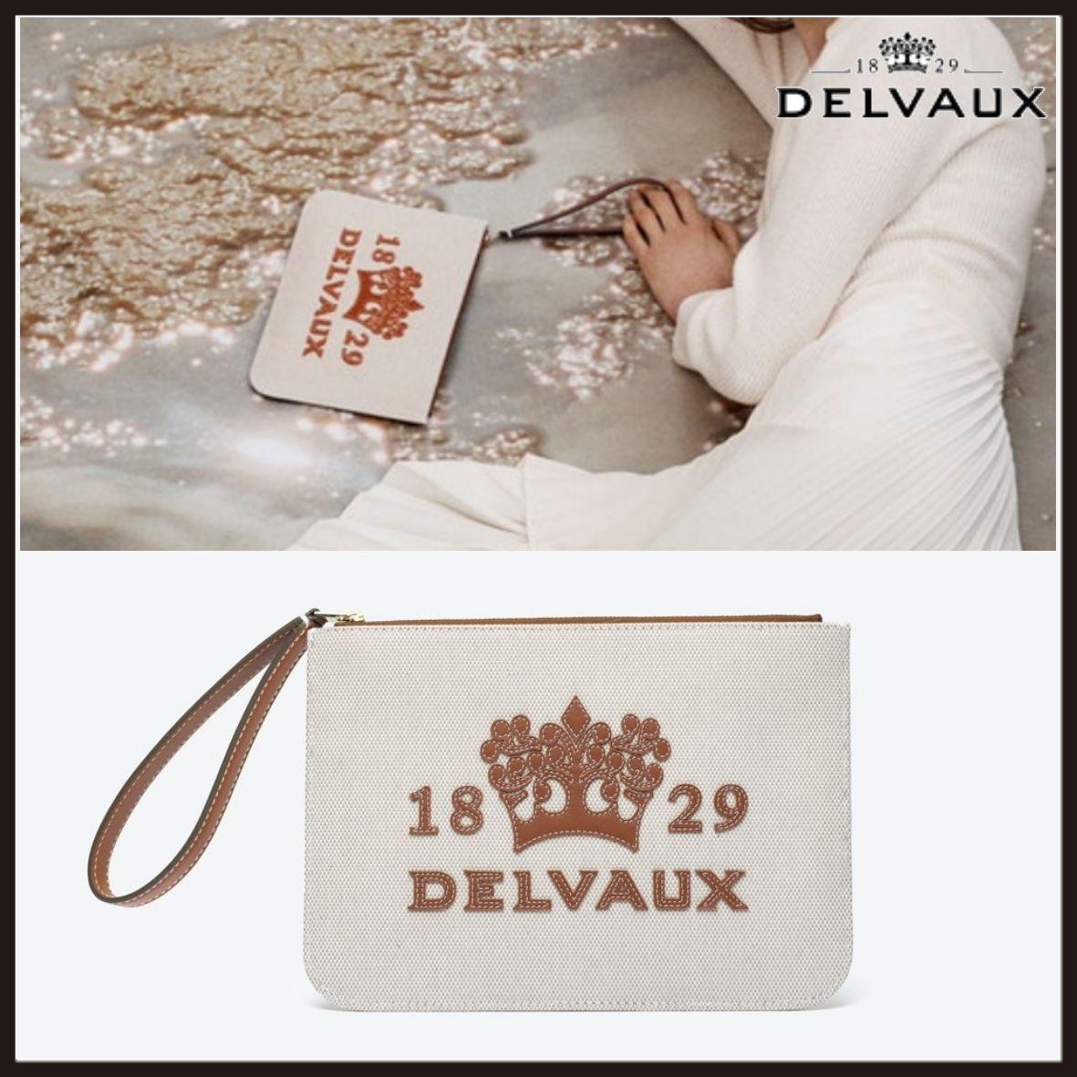 DELVAUX◆Delight Pouch キャンバス×レザー ロゴ ポーチ (DELVAUX/ポーチ) 71513419