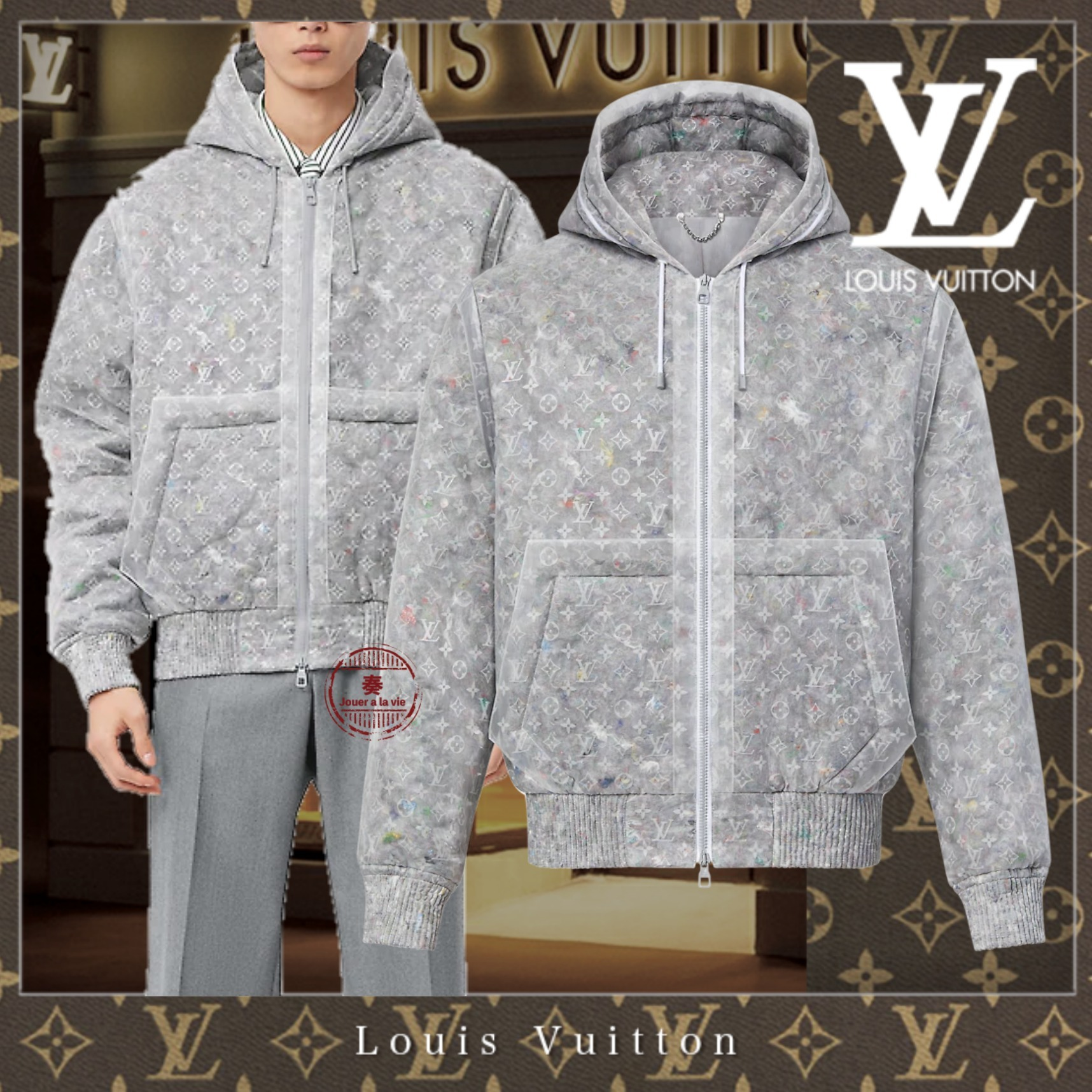 21FW Louis Vuitton 直営 モノグラムオーガンザパデッドブルゾン (Louis Vuitton/ブルゾン) 1A98AE  1A98AF   1A98AG