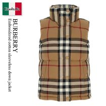 Burberry Embroidered cotton sleeveless down jacket