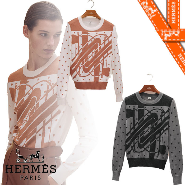 21AW【エルメス】Pull manches longues motif ニット (HERMES/ニット・セーター) H1H2638D89M38  H1H2638D8W638