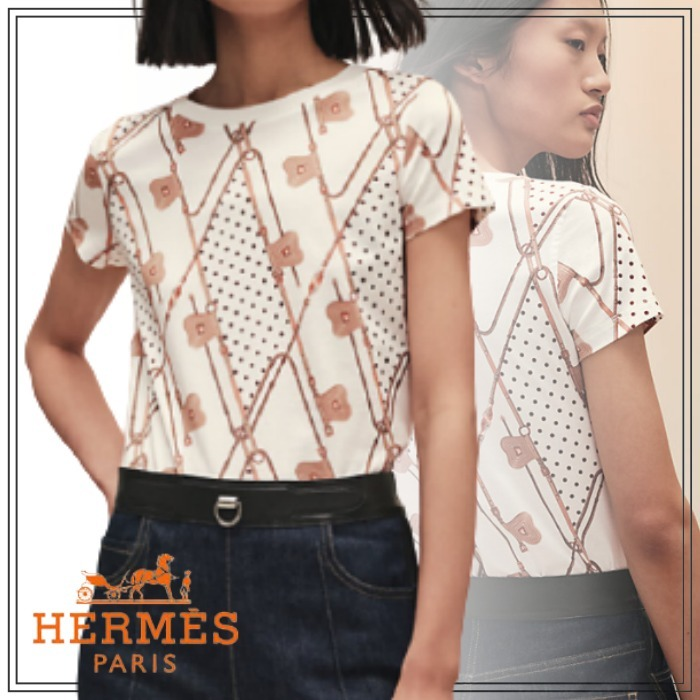 """2021SS HERMES Tシャツ  """"Clic Clac a Pois Losanges"""" (HERMES/Tシャツ・カットソー) H1H4616D9040"""