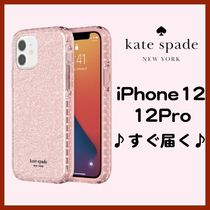 【kate spade】iPhone12/12Proケース ピンクグリッター