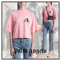 Palm Angels(パームエンジェルス) Tシャツ・カットソー ☆関税込み【PALM ANGELS】DAISY LOGO CROPPED T-SHIRT