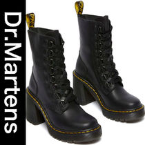 BLACK CHESNEY LEATHER FLARED HEEL LACE UP BOOTS ★Dr.Martens