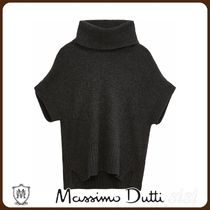 MassimoDutti♪HIGH SCOOP NECK WOOL SWEATER WITH SHORT SLEEVE