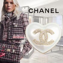 【21AW★PRE】★CHANEL★ハートパール ロゴブローチ