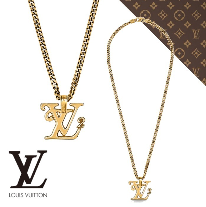 21AW【ルイヴィトン】COLLIER DORE SQUARED LV ネックレス (Louis Vuitton/ネックレス・チョーカー) MP2692