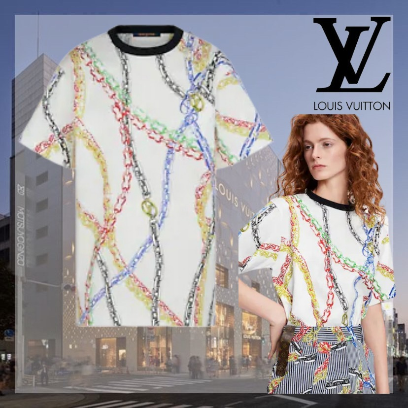 21FW 希少 大人気 直営 Louis Vuitton チェーンプリントTシャツ (Louis Vuitton/Tシャツ・カットソー) 1A92NF