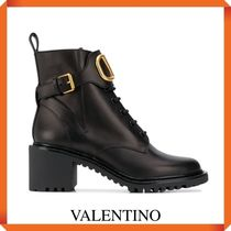 VALENTINO VLOGO COMBAT BOOT IN LEATHER