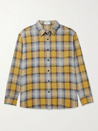 CELINE | LOOSE SHIRT IN CHECKERD STRIPES YELLOW/BLUE シャツ