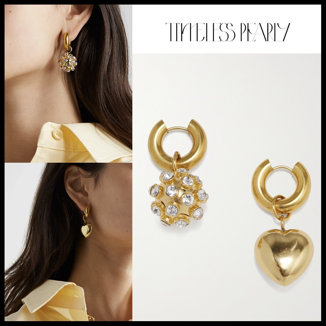 【TIMELESS PEARLY】ゴールド クリスタルフープ ピアス☆関税込 (TIMELESS PEARLY/ピアス) 71852245