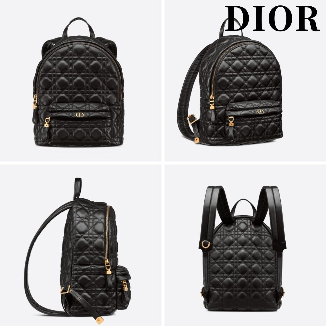 【DIOR】21AW CD BACKPACK SMALL BAG Lambskin black リュック (Dior/バックパック・リュック) M9221UNGF_M900