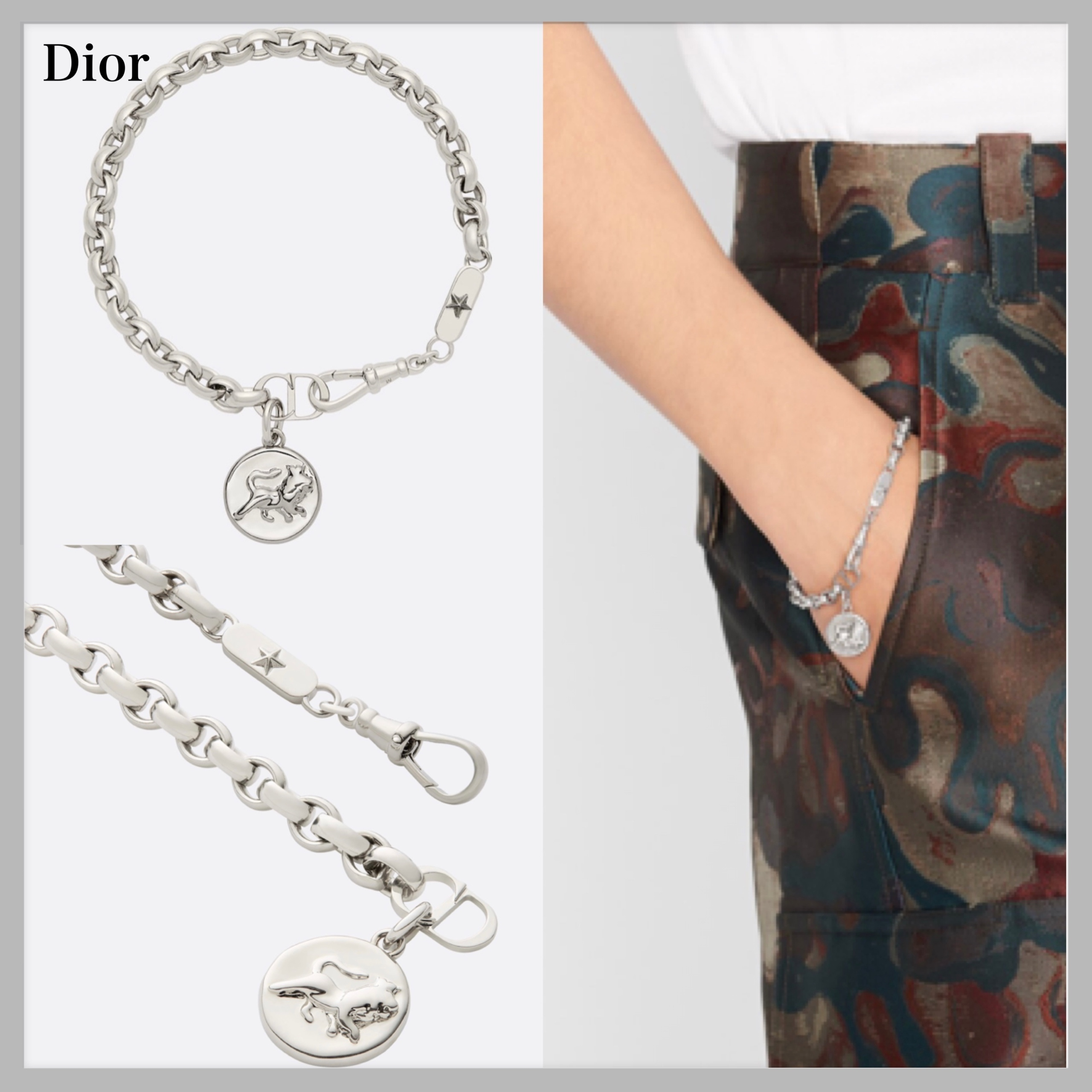"""【DIOR】""""DIOR AND PETER DOIG"""" メダリオンブレスレット/silver (Dior/ブレスレット) B1391HOMMT_D000"""