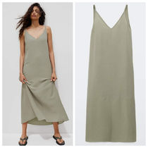 Massimo Dutti【NEW】LONG STRAPPY LYOCELL AND LINEN DRESS