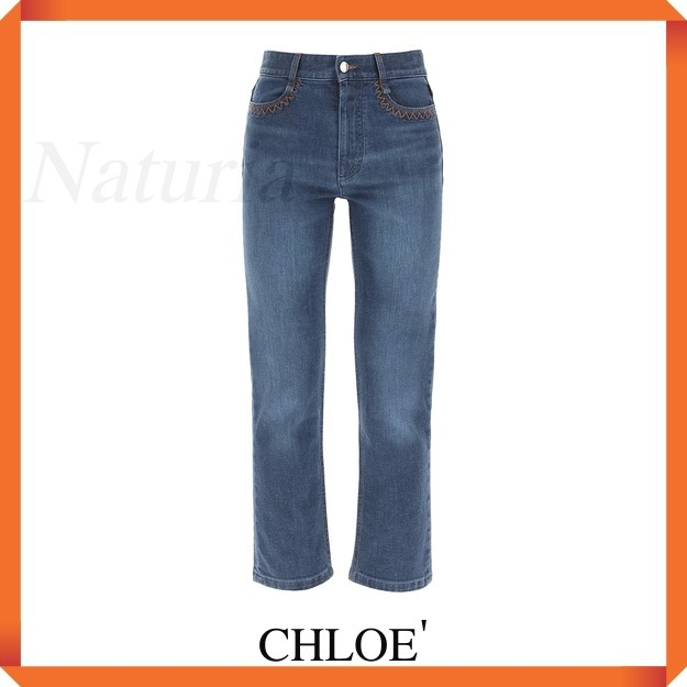 Chloe' High Waisted Jeans With Embroidery (Chloe/デニム・ジーパン) CHC21ADP15151 49X