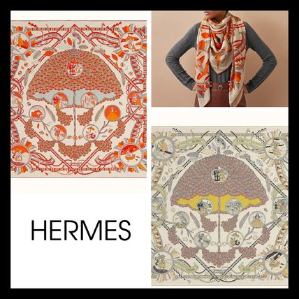 【HERMES】直営/正規店 L'Ombrelle Magique shawl 140 カシミア