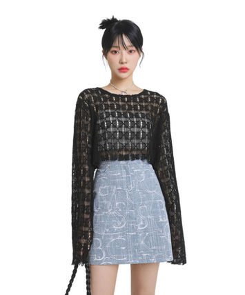 [our] Ely Punching Crop Knit (2color)