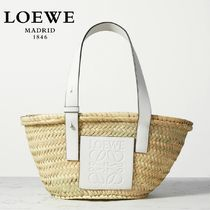 ∞∞ LOEWE ∞∞ Small leather-trimmed バスケットバッグ☆WH