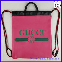 Gucci★素敵!Pink Leather Drawstring Backpack with Logo Print